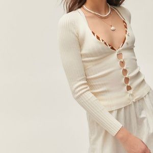 UO Bonnie Pearl Button Up Sweater